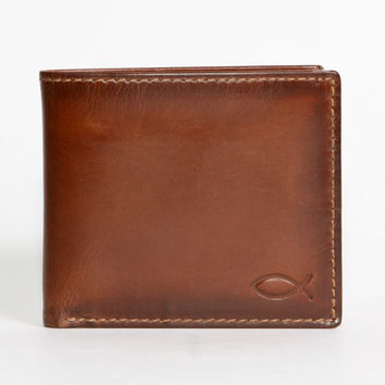 CHRISTIAN FISH Bifold - Slightly Imperfect - Embossed Leather Wallet - PERSONALIZED Mens Wallet - Gifts for Men
