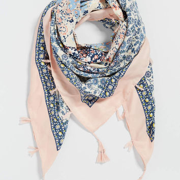 square scarf in patchwork print with tassels | maurices