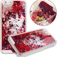 Case for iPhone 6S,Cover for iPhone 6S,Case for iPhone 6S with 4.7 inch Screen,Hard Case for iPhone 6S,NSSTAR™ Creative Design Flowing Liquid Floating Luxury Bling Glitter Sparkle Stars Hard Case for Apple iPhone 6S (2015)/ iPhone 6 (2014) (Stars:Red)