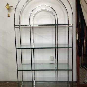 Arch top Chrome and Glass Etagere