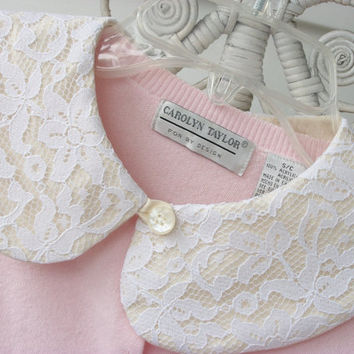 Peter Pan Collar  .......  Lace over  cream  cotton fabric .........   A  Romantic  Detachable Collar
