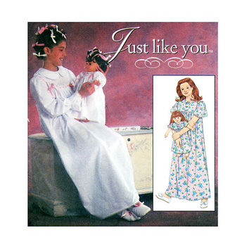 "1990s Girls Playwear Nightgown & Matching 18"" Doll Nightgown Pajamas Nightshirt Sizes 7 8 10 Simplicity 7841 UNCUT Craft Sewing Patterns"