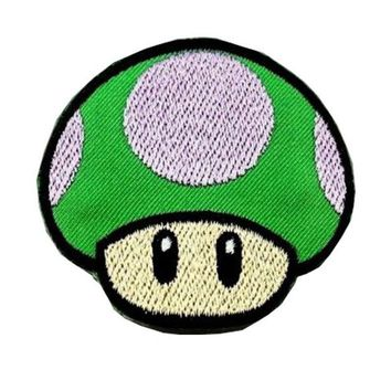Super Mario party nes switch 10pcsNew arrival GAME  Green Embroidered Patch Iron Sew Logo Emblem 1 UP MUSHROOM or Apparel Jacket Embroidery Sewing AT_80_8