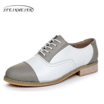 woman vintage oxford shoes round toe genuine leather US 11 designer handmade lace up flats grey white oxford shoes for women