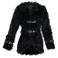 Hysteria - gothic black plush women's jacket by Queen of Darkness