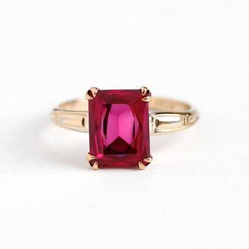 Vintage 10k Rosy Yellow Gold Filled Created 3 Carat Ruby Ring - 1940s Size 6 3/4 Red Pink Lab Created July Birthstone McGrath Hamin Jewelry