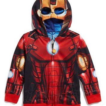 Boy's Jem 'Marvel Avengers - Iron Man/Captain America' Reversible Hoodie,