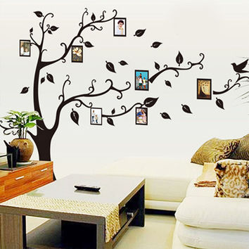 Black 3D DIY Photo Tree PVC Wall Decal Adhesive Family Wall Stickers Mural Art Home Decor 2 Size