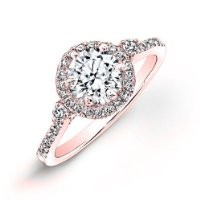 0.90 carat Round Brilliant Cut Diamond Halo Anniversary Engagement Ring in 14k Rose Gold