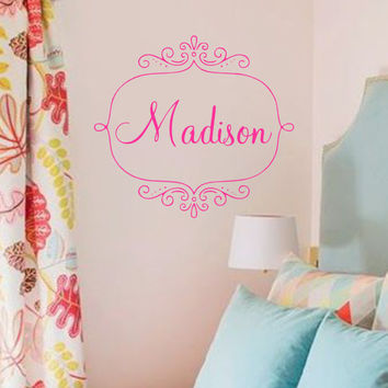 Scroll Frame with Name Vinyl Wall Decal-Bedroom Room Decor- Preppy Wall Decor- Personalized Name-Custom Wall Decor