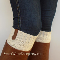 Cream White Boot Cuffs, Brown Leather, Women legwarmers. Boot socks, legwarmers. Handmade soft organic knitting.