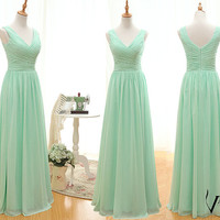 Elegant Formal One Shoulde Zipper Up Back Long Chiffon Mint Green Bridesmaid Dress Mint Green Evening Dress