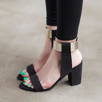 Summer Fashion Multicolor Magic Stick-up Band Sandals Roman Women Thick Heel Heels Shoes