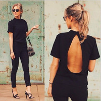 Backless Short Sleeve Slim Sexy T-shirts [11148966351]