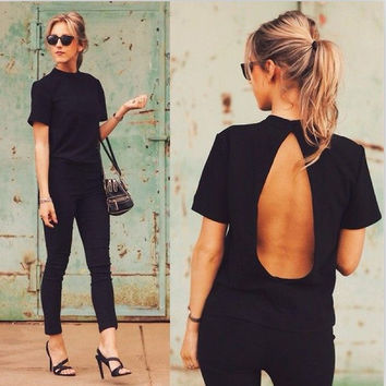 Backless Short Sleeve Slim Sexy T-shirts [11617451407]