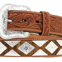 Nocona Men's Pro Series Tan Calf Hair Belt w/Diamond and Triangle Conchos