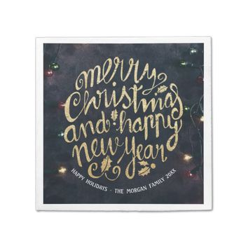 Gold & Black Christmas Happy New Year Script Paper Napkin