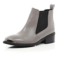 River Island Womens Grey leather low heeled boots