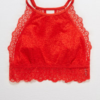 Aerie Nordic Lace Hi-Neck Bralette, Holiday Red