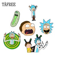 TAFREE Hot Rick And Morty Lapel Pins Colorful Enamel Brooches Korean Style Carton Badge Jewelry Personality Accessories