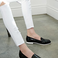 Faux Patent Penny Loafers