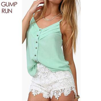 CREYHY3 GUMPRUN Fashion Blouse Women Tank Top Sexy V Neck Button Ladies Blusas Casual Summer Cropped Vest Chiffon Tops Plus Size 3XL