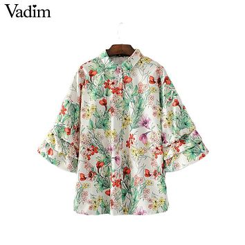 Vadim women sweet ruffles floral loose shirts lantern sleeve vintage split turn down collar blouses summer casual tops LT1872