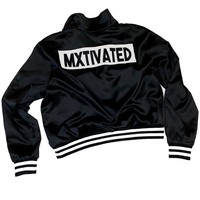 Mxtivated - Italian Satin Pullover Flight Jacket - Black