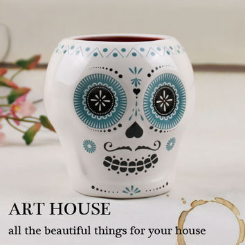Tea coffee mugs ceramic Personality skull cup home decor craft room decoration porcelain figurine handicraft cup Halloween mug