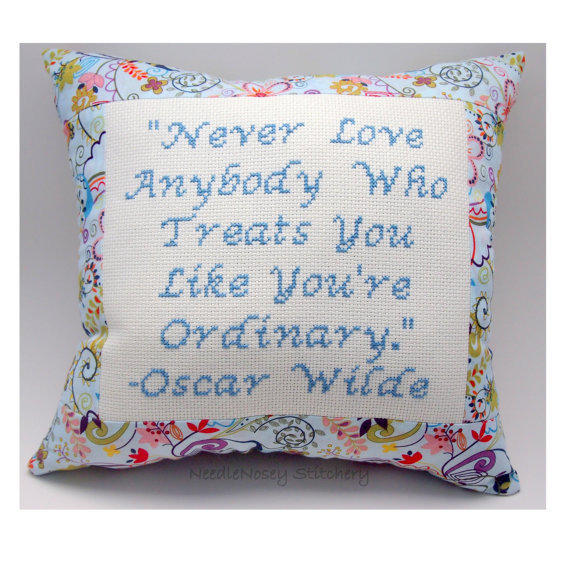 Inspirational Cross Stitch Pillow, Inspirational Quote, Blue Pillow, Oscar Wilde Quote