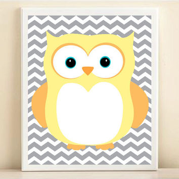 Nursery Chevron Owl Art Print: Yellow Baby Neutral Nursery Wall Decor - Customize To Your Colors 8x10