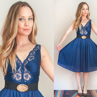 Gorgeous Navy Blue Lace Trim Dress | Womens 70s Slip Dress Size Small Medium XS | Knee Length Sheer Boho Classy Formal Summer Evening Dress