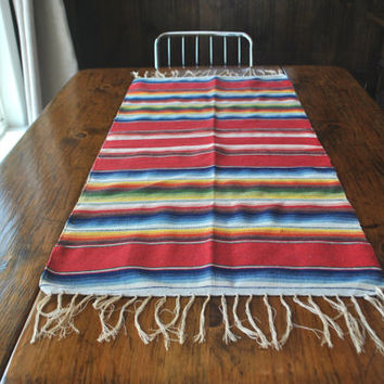 Mexican Blanket Table Runner / rug or wall hanging / 1950s