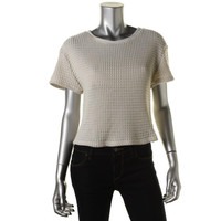 Sanctuary Clothing Womens Crop Short Sleeves Knit Top