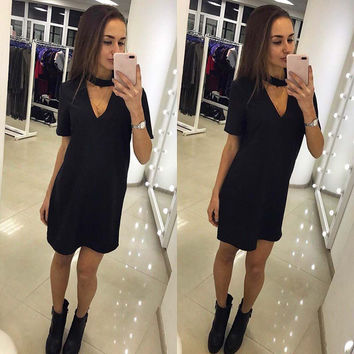 Ermonn 2017 Hot Sale Summer Dress Short Solid Sleeve Natural V-Neck Casual Style Above Knee Mini Loose Dresses