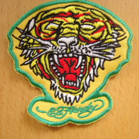 Ed Hardy Tiger Lion Leopard Yellow Iron On patch, Applique, Sewing patch