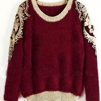 Wine Red Round Neck Embroidery Sweater  S008981