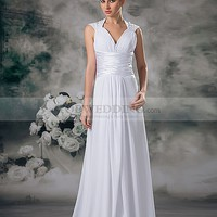 Straps Chiffon Empire Wedding Dress Featuring Pearl and Pleating