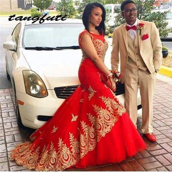 Fashion Evening Dresses Long 2016 New Scoop Golden Appliques Lace Red Mermaid vestido de festa longo Formal Dress Evening Gowns