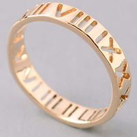 Roman Numeral Cut Outs Ring - Gold or Silver