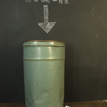 Vintage Industrial Old Metal Trash Can Bin