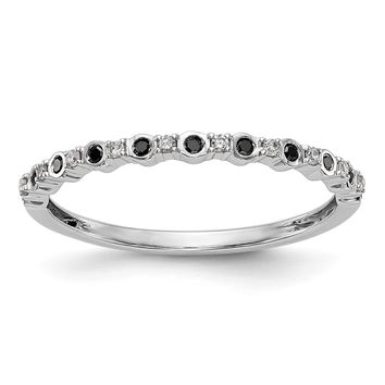14k White Gold Bezel Set Black Diamond And White Diamond Thin Anniversary Band