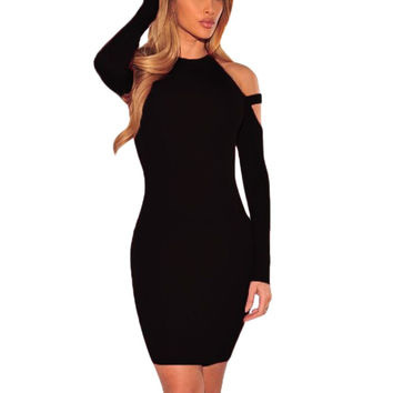 WJ Autumn Winter Sexy Off Shoulder Club Party Dresses Women Long Sleeve Cotton Elastic Casual Bodycon Dress vestidos de festa