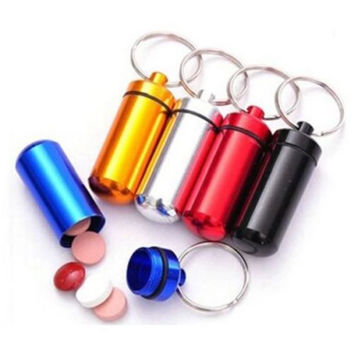 Mini Aluminum Pill Box w Keychain Cute Stylish Drug Medicine Container 6 Colors Storage Bottles