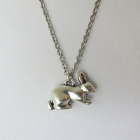 Rabbit Necklace in Tibetan Silver - Hypoallergenic Chain