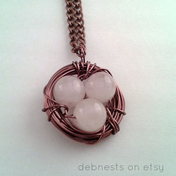 Bird Nest Necklace, Rose Quartz Gemstone Beads, Antique Copper Wire and Chain