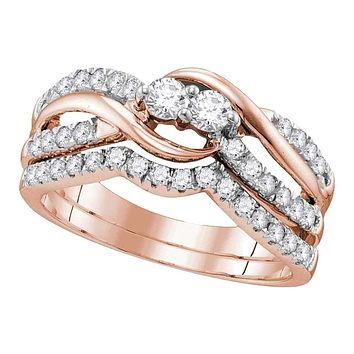 14kt Rose Gold Women's Round Diamond 2-Stone Bridal Wedding Engagement Ring Band Set 3/4 Cttw - FREE Shipping (US/CAN)