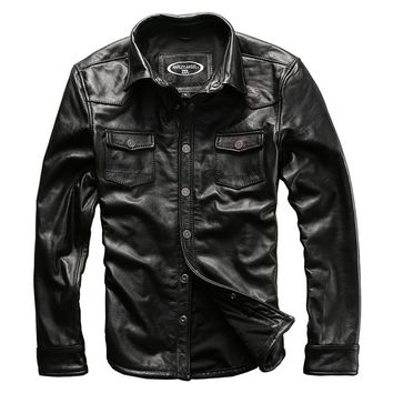 men's cow leather outwear mens cowhide genuine leather vintage rider jacket