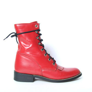 Red Leather Justin Kiltie Boots - Rope - Racer Ankle Boots - Size 6 - Kiltie Boots - Roper Boots - Fringe Boots - Justin Boots - Western