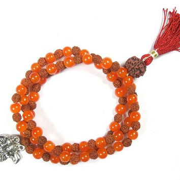 Rudraksha Amber Stone Mala Spiritual Yoga Meditation Beads for Protection and Purification